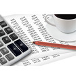 calculator with cup of coffee vector image vector image