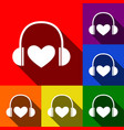 headphones with heart set of icons with vector image