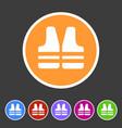 life vest jacket icon flat web sign symbol logo vector image