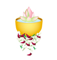 Lotus Flower in A Bowl for Songkran Festival vector image