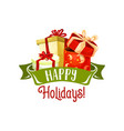 merry christmas gifts holiday greeting card vector image