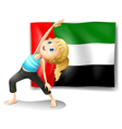 Flag of the UAE with a girl stretching vector image