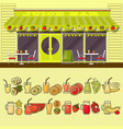 juice bar and set of colorful food and drink fruit vector image