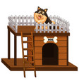 dog and doghouse made of wood vector image vector image