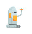 cute cartoon robot waiter character with tray vector image