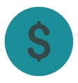 Dollar flat soft blue colors round button vector image