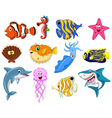 Sea life cartoon set vector image vector image