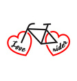 Bike with wheels shapes of the heart Love rider vector image