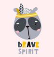cute cartoon panda face childish print for vector image