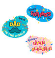 happy fathers day bright cartoon isolated stickers vector image