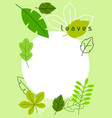 natural card with stylized green leaves spring or vector image