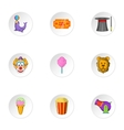 Circus performance icons set cartoon style vector image