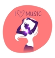 Dance music girl silhouette vector image