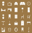 Furniture icons on brown background vector image
