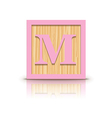 letter M wooden alphabet block vector image
