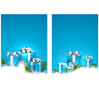 Blue christmas banners with gift boxes vector image