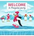 Cartoon penguins skating vector image vector image