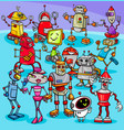 cartoon robot characters group vector image