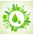 Eco cityscape around water drops vector image