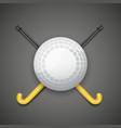 Hockey field ball and sticks vector image