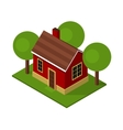 Isolated Isometric House Buildings with Garden and vector image