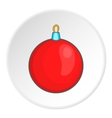 Red ball for the Christmas tree icon cartoon style vector image