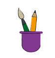 school cup with artistic utensils pencil paint vector image