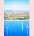 wind turbine energy renewable water station field vector image