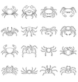 Various crab icons set outline style vector image