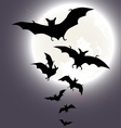 Halloween background with a full moon and bats vector image vector image