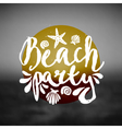 beach party ocean sunset hand drawn text flyer vector image vector image