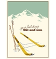 Ski equipment in the snow vector image