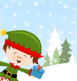 Elf With Gift vector image