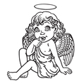 Cartoon little angel outline vector image