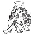 Cartoon little angel outline vector image