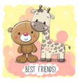 cute cartoon bear and giraffe vector image