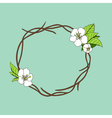 hand drawn wreath with cherry blossom vector image