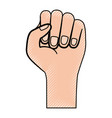 hand fist icon colored crayon silhouette vector image