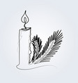 line sketch christmas candle and needle vector image