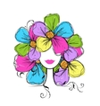 Woman head with floral hairstyle for your design vector image
