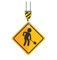 site under construction hook holds sign vector image