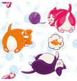 seamless pattern with funny pussycats on a vector image