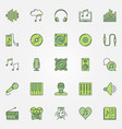 colorful music icons set vector image