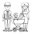 Silhouette happy couple with their baby icon vector image