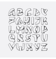hand drawn font imitation of 3d letters vector image