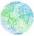 Planet earth green sketched doodle vector image vector image