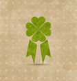 Award ribbon with four-leaf clover for St Patricks vector image vector image