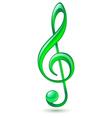 Green treble clef vector image