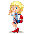 Little girl with backpack waving hand vector image