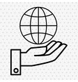 Hand and world connection isolated icon design vector image